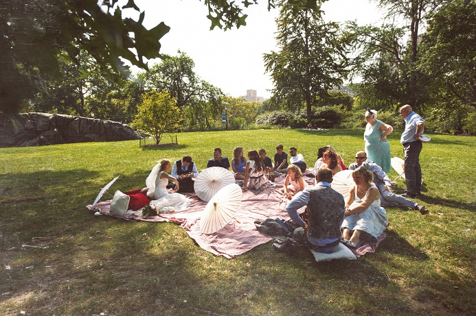 Intimate picnic during golden hour in Central Park