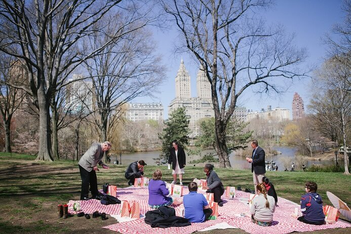Intimate picnic on Cherry Hill with the Lake in the background