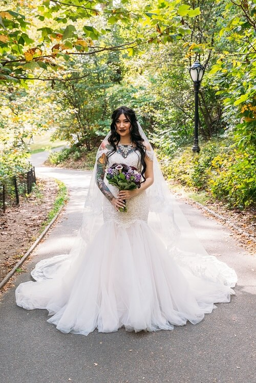 Fall Bridal portrait in Central Park