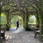 Bride & Groom posing at Dene Summerhouse