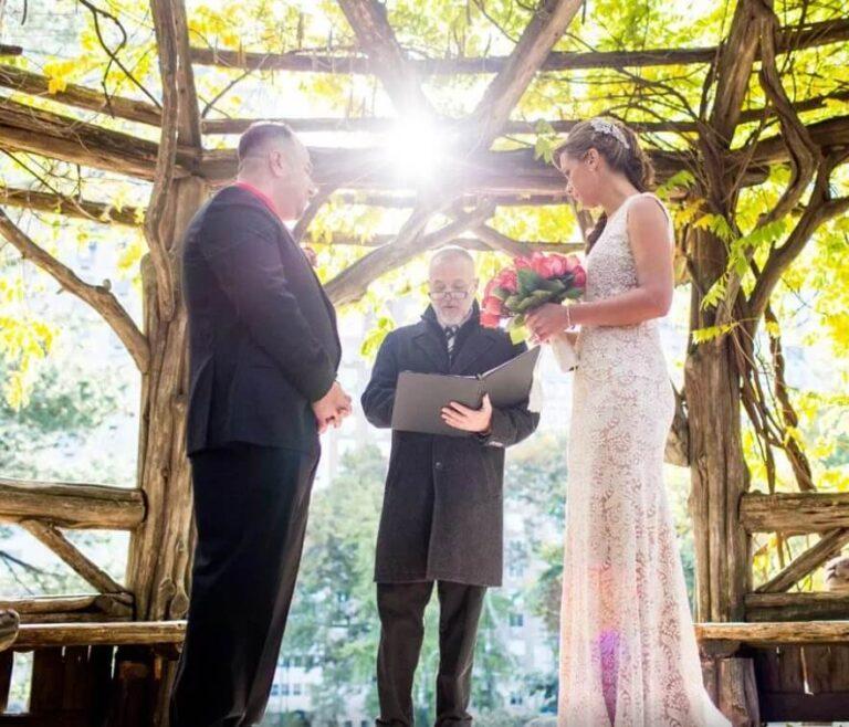 David Gallo officiates wedding at Cop Cot, Central Park