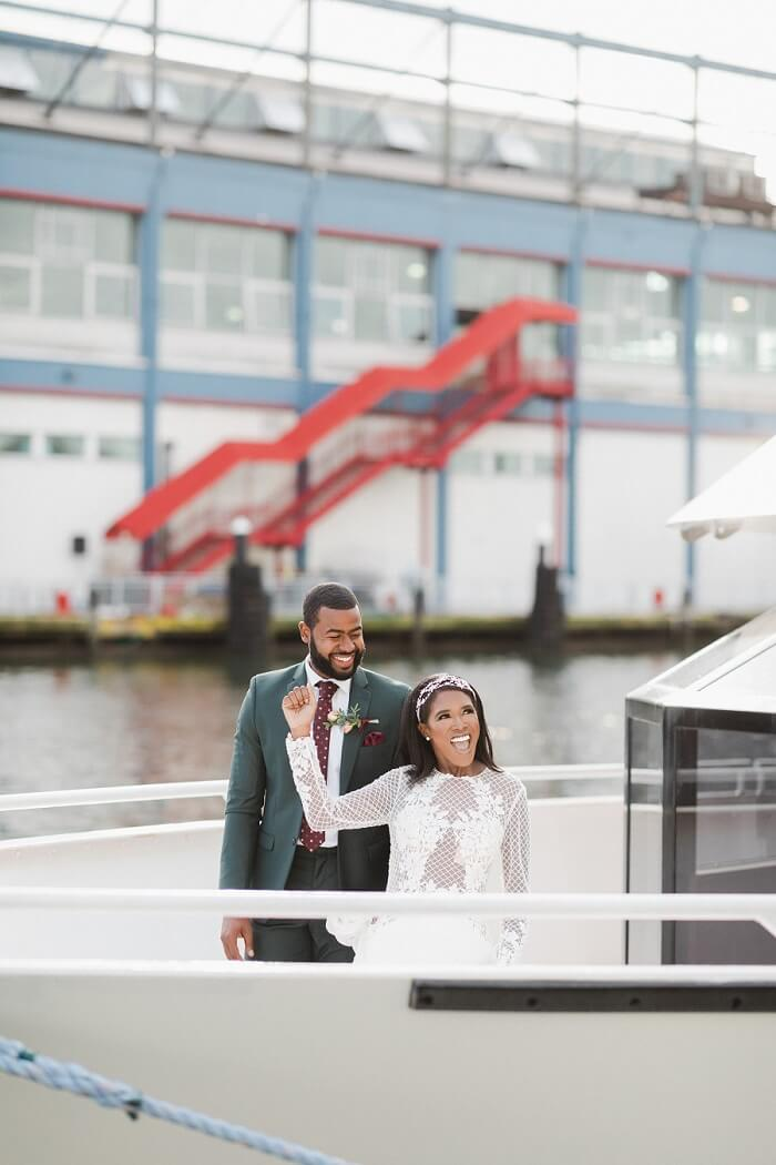 Couple just married on NYC skyline cruise