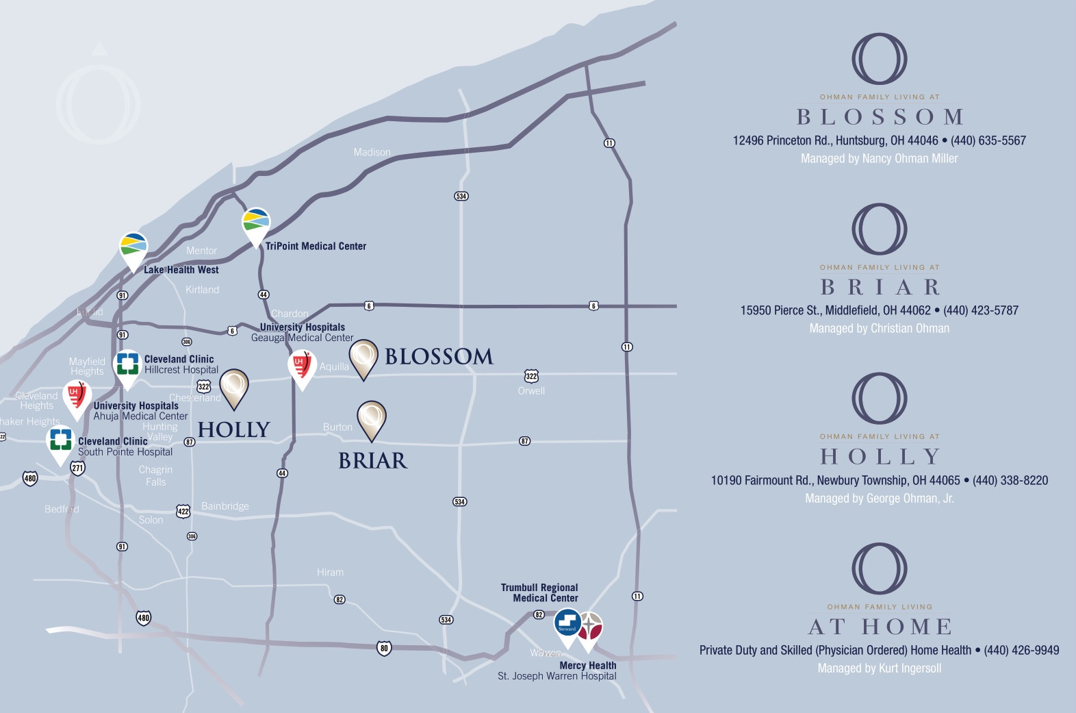 Ohman Family Living Locations