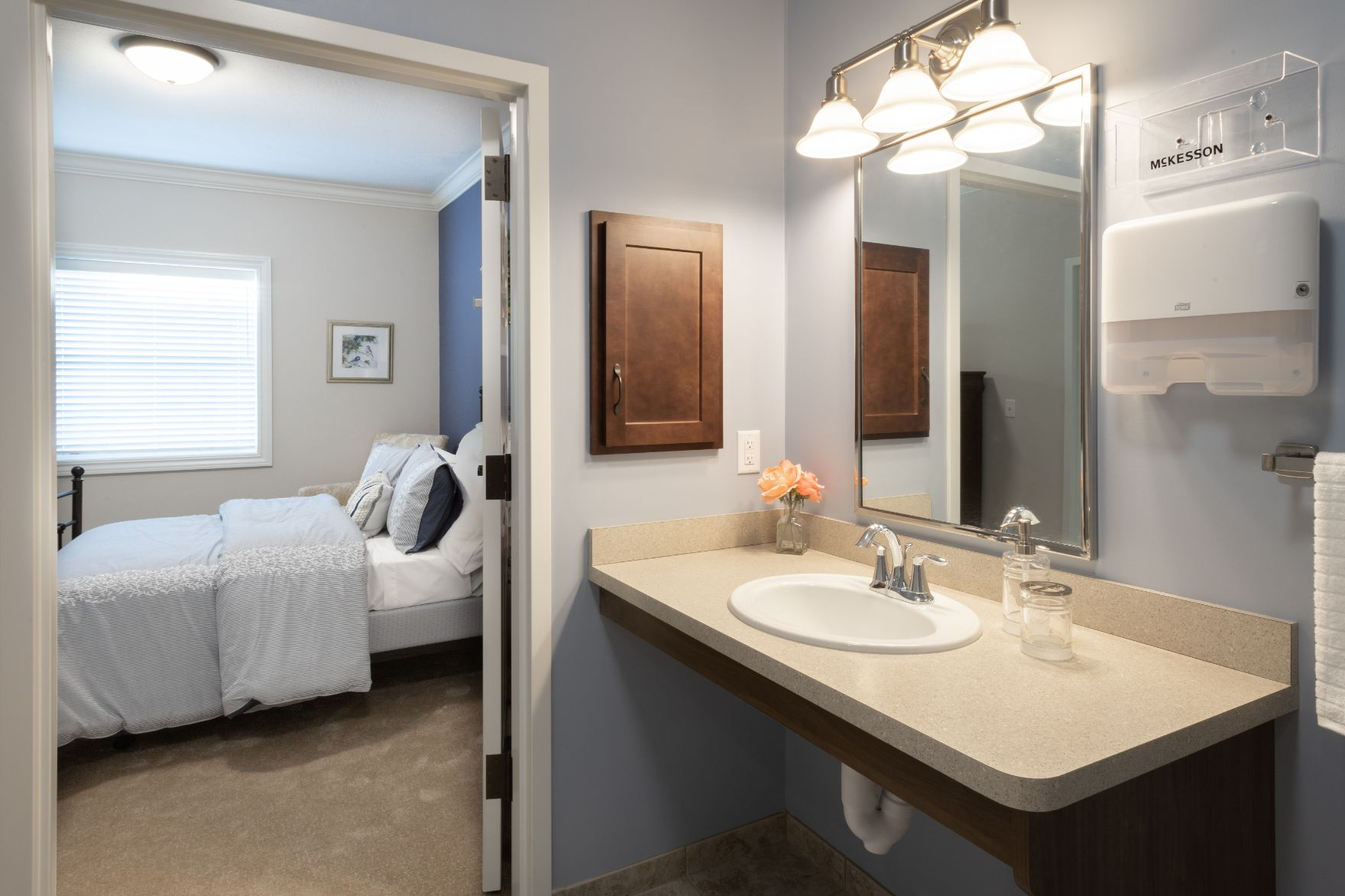 resident bedroom and bathroom