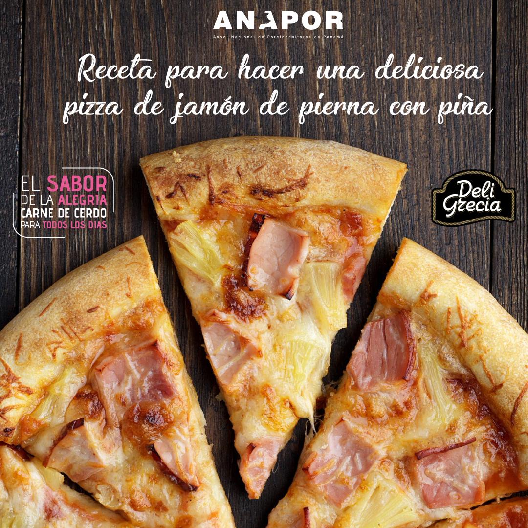 Pizza casera de Jamón con Piña