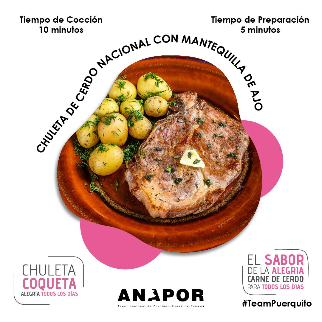 Chuletas Coqueta De Cerdo Nacional Con Mantequilla De Ajo