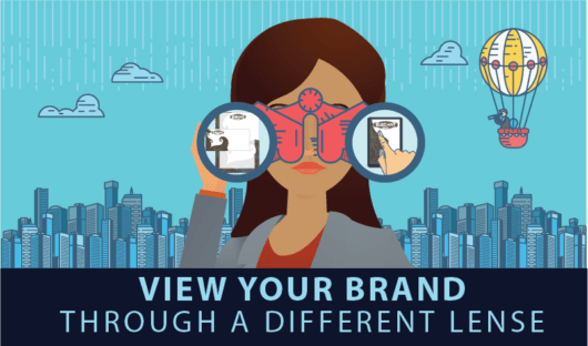 View your brand through a different lens; girl looking through binoculars