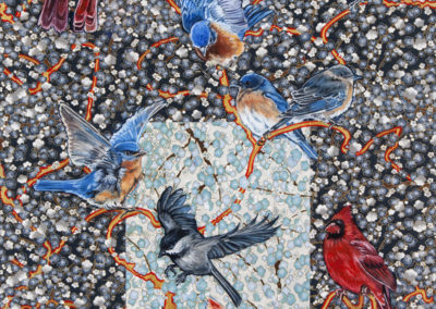 birds, mixed-media, paper, oil, Kathryn-Gabinet-Kroo