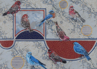 painting, birds, oil, red, blue, Kathryn-Gabinet-Kroo