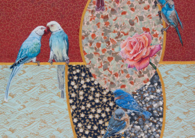 mixed-media, montreal-artist, birds, painting, red