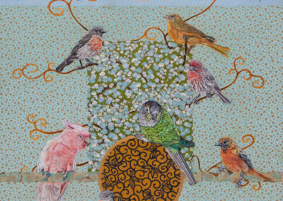 mixed-media, birds, painting