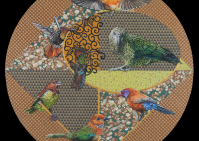 birds, mixed-media, oil, paper, round-format, cooper, japanese-paper, art-for-sale