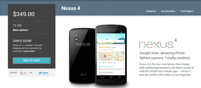 Fresh Stock of Nexus 4 Devices Hit the Play Store [Go Now!]