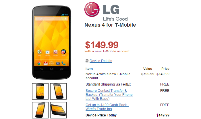 Wirefly Offering the Nexus 4 on Contract for an amazing $149.99 [Deal Alert]