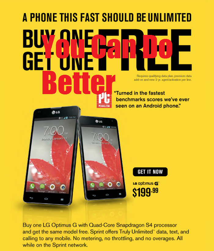 Sprint Offering BOGO Deal on LG Optimus G, but you can do Better