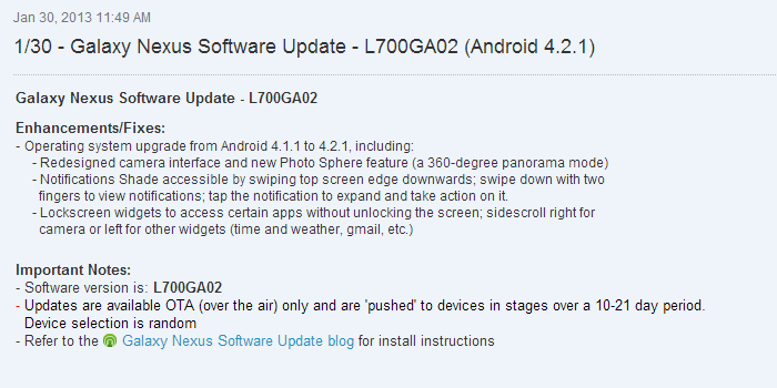 Android 4.2.1 now Pushing out to the Sprint Samsung Galaxy Nexus