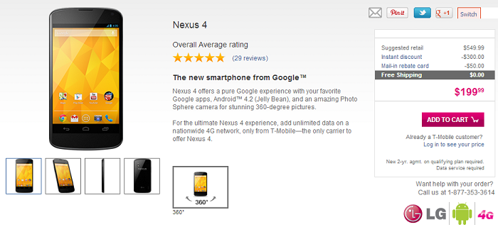 Still Interested in Picking up a Nexus 4? T-Mobile has Them in Stock Online