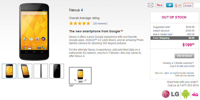 T-Mobile Already Sold out of Nexus 4 Devices online