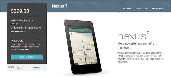 HSPA+ Nexus 7 With T-Mobile SIM now Available in the Google Play Store