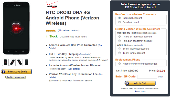 Amazon Matches Wirefly by Offering the HTC DROID DNA for $49.99 to New Customers