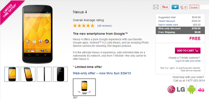 T-Mobile now Offering the Nexus 4 for Free Until Sunday February 24 [Deal Alert]