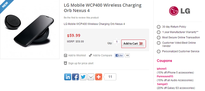 One Online Retailer Begins Taking Pre-Orders for the LG Nexus 4 Wireless Charging Orb