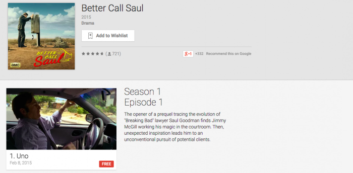 Deal: Google Play Offering Premier Episodes of Better Call Saul and Game of Thrones for Free