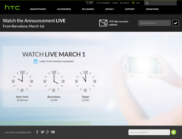 Watch HTC's One M9 Announcement Live From Barcelona on March 1st
