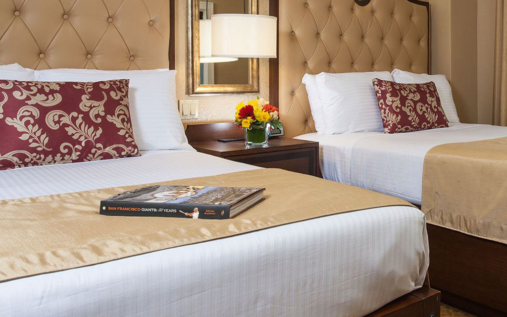 San Francisco Giants book sits on one of two queen beds
