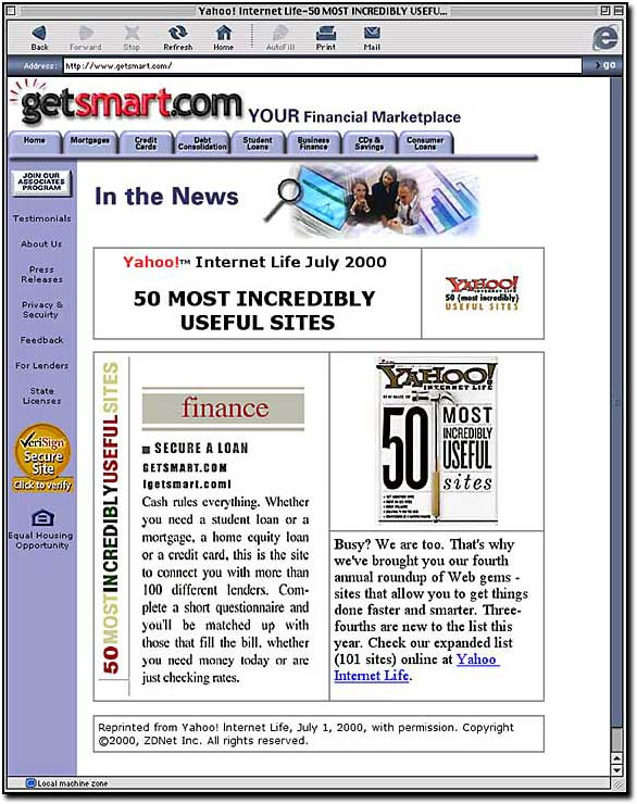 GetSmart.com second site redesign winning a slot on Yahoo's 50 most useful sites (this was back in the 90's when things like this mattered)