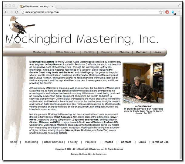 Mockingbird Mastering Home Page