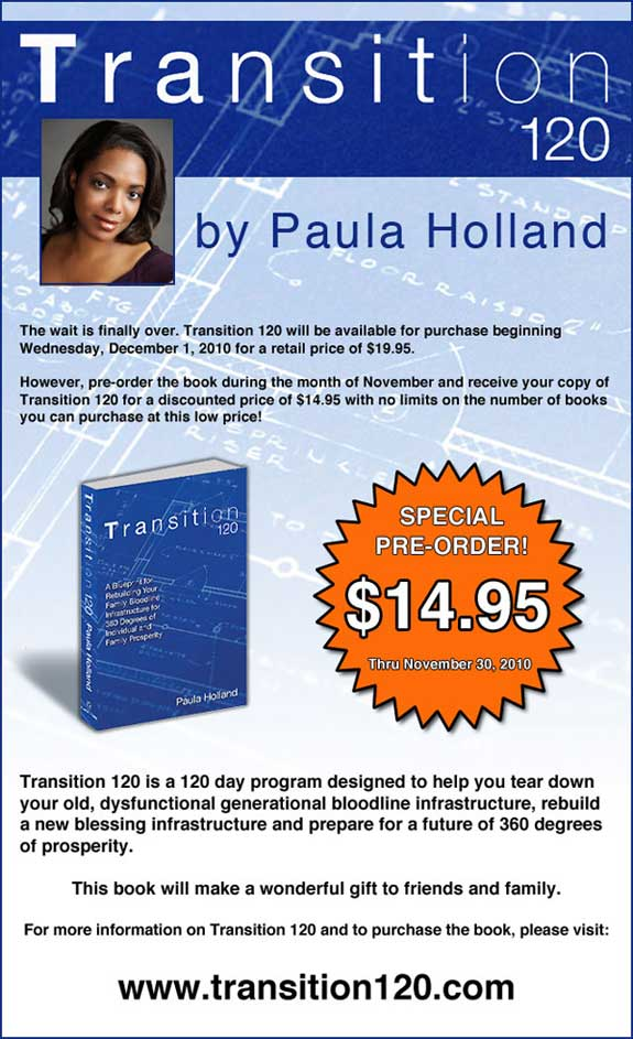Transition 120 - By Paula Holland, pre-release ad.