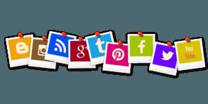 social media logos on polaroid stock