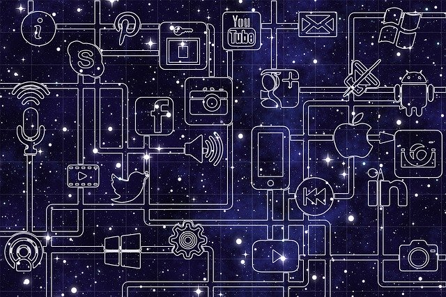 social media network against space background