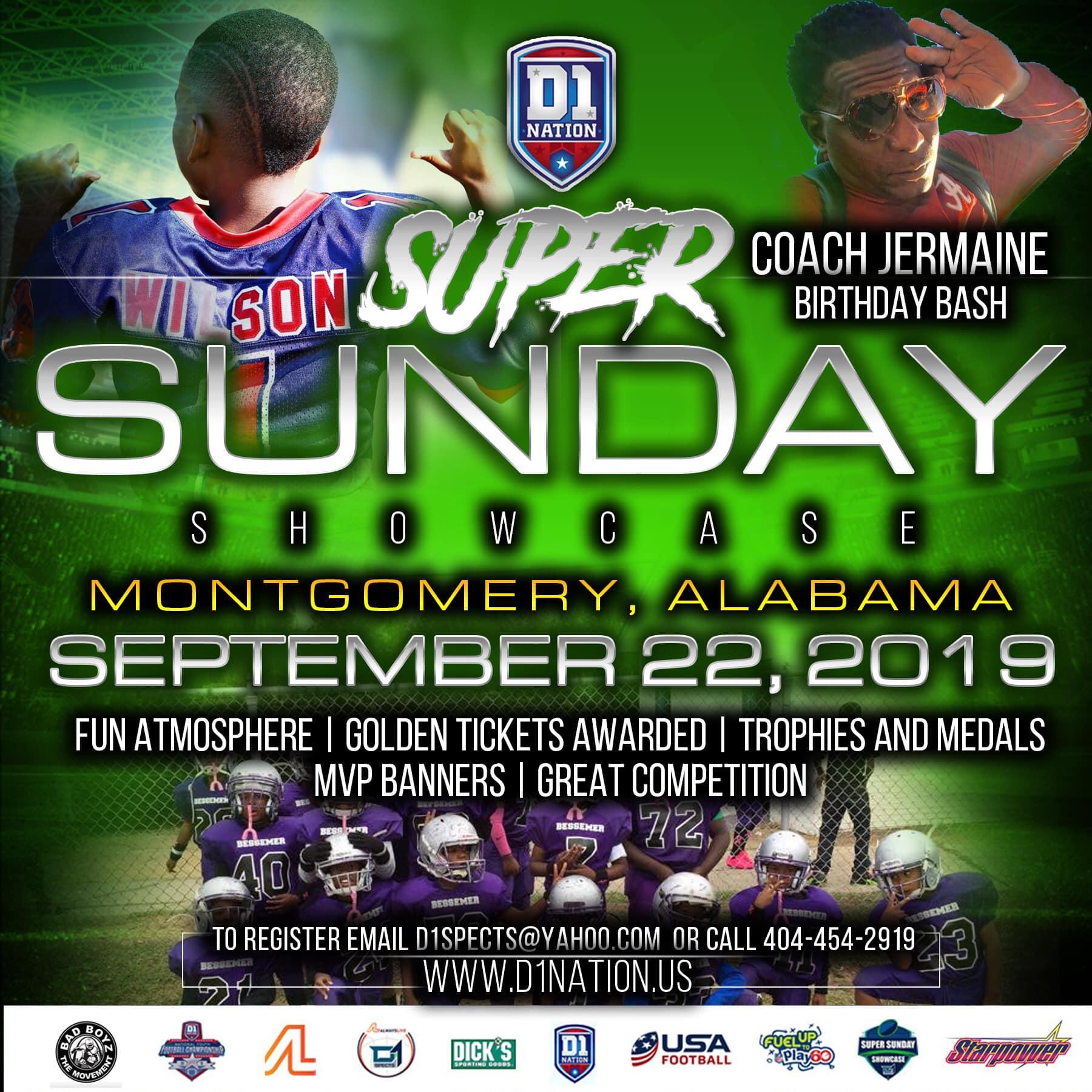 Alabama Super Sunday Showcase – Starting Line Up!!! Sept 22 @ Montgomery ,AL