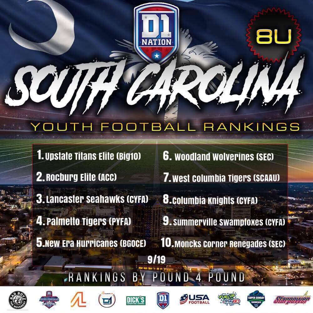 Update 09/24/2019: South Carolina Youth Football Rankings – 8U
