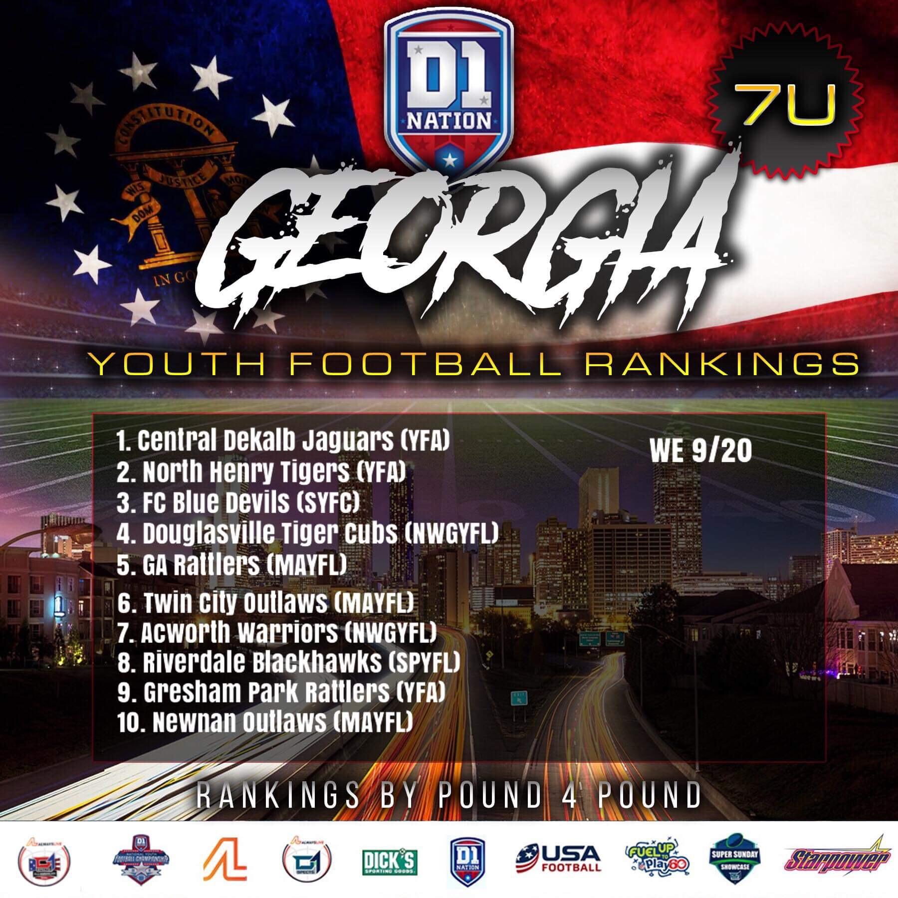 Update 09/26/2019: Georgia Youth Football Rankings – 7U