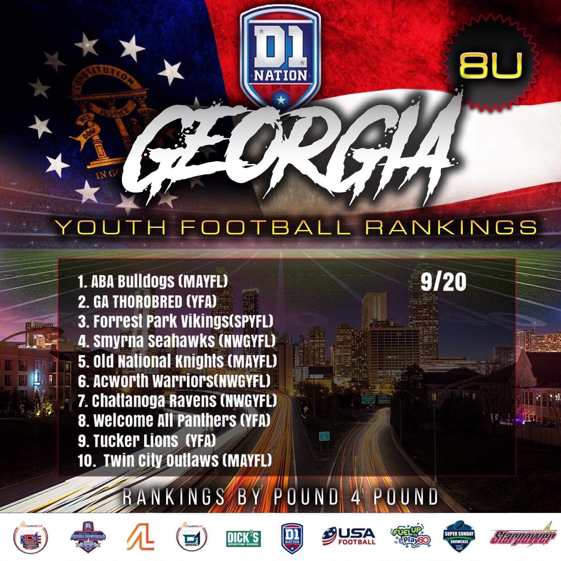 Update 09/26/2019: Georgia Youth Football Rankings – 8U