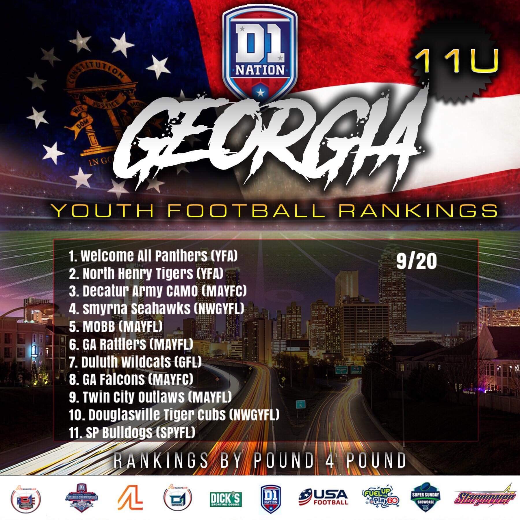 Update 09/26/2019: Georgia Youth Football Rankings – 11U