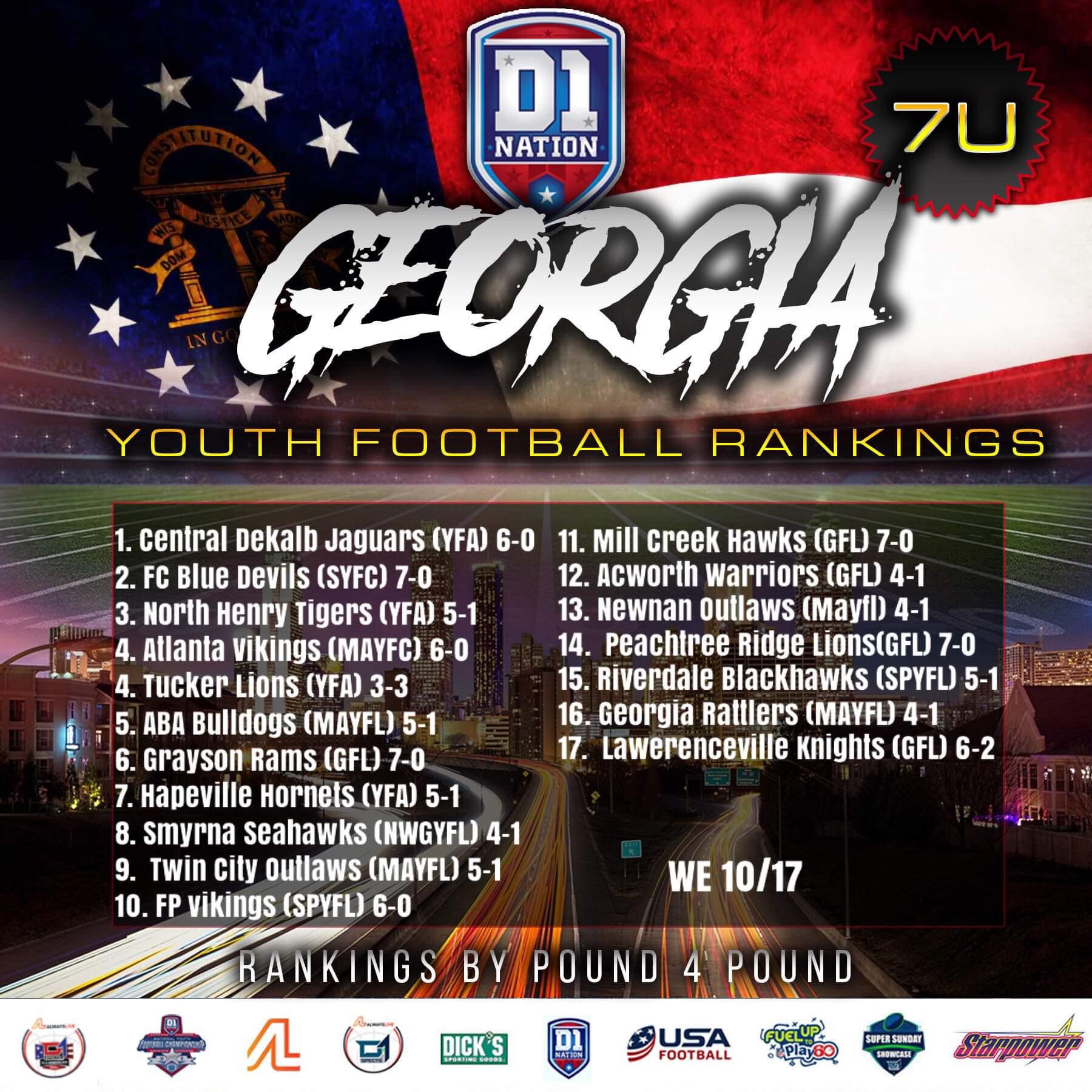 Update 10/21/2019: Georgia Youth Football Rankings – 7U