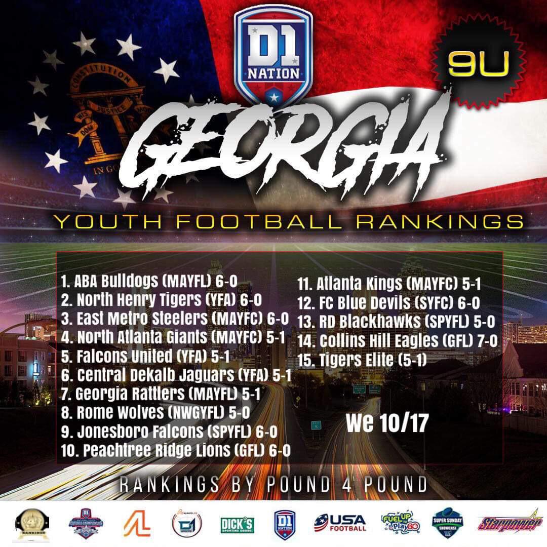 Update 10/21/2019: Georgia Youth Football Rankings – 9U