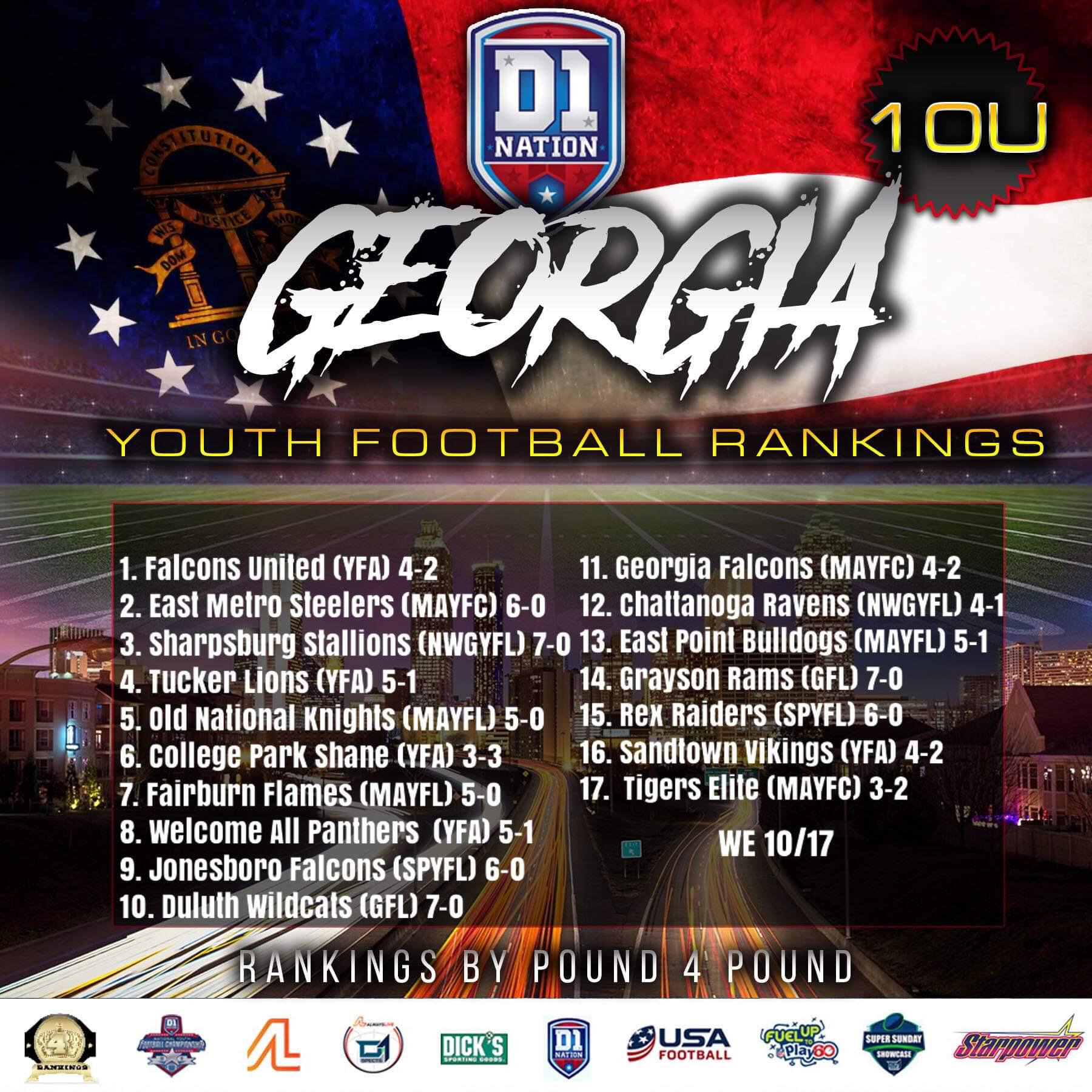 Update 10/21/2019: Georgia Youth Football Rankings – 10U