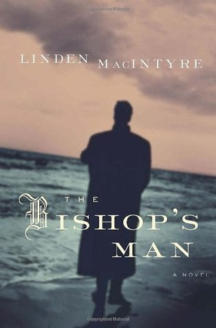 Book cover. Dark figure of man standing on shore at dusk.