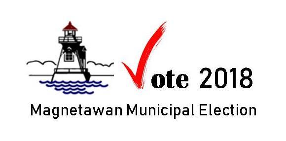 Magnetawan town logo, a lighthouse, beside text