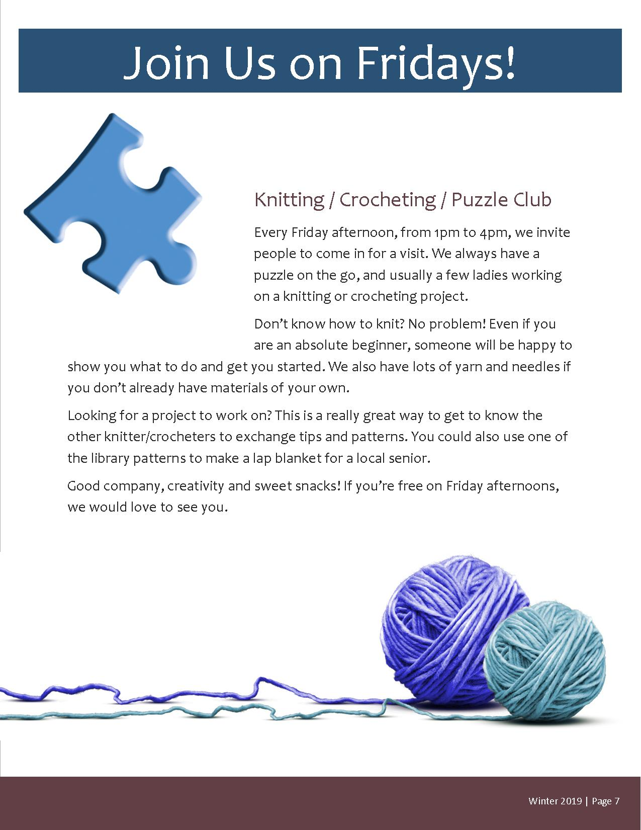 Knitting/Crocheting/Puzzle Club @ Magnetawan Community Centre