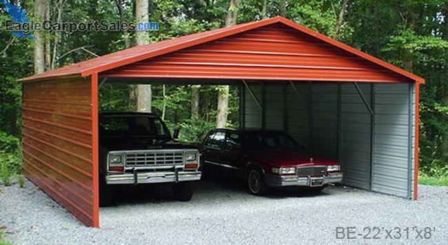 2 Car Carports-Barn Red