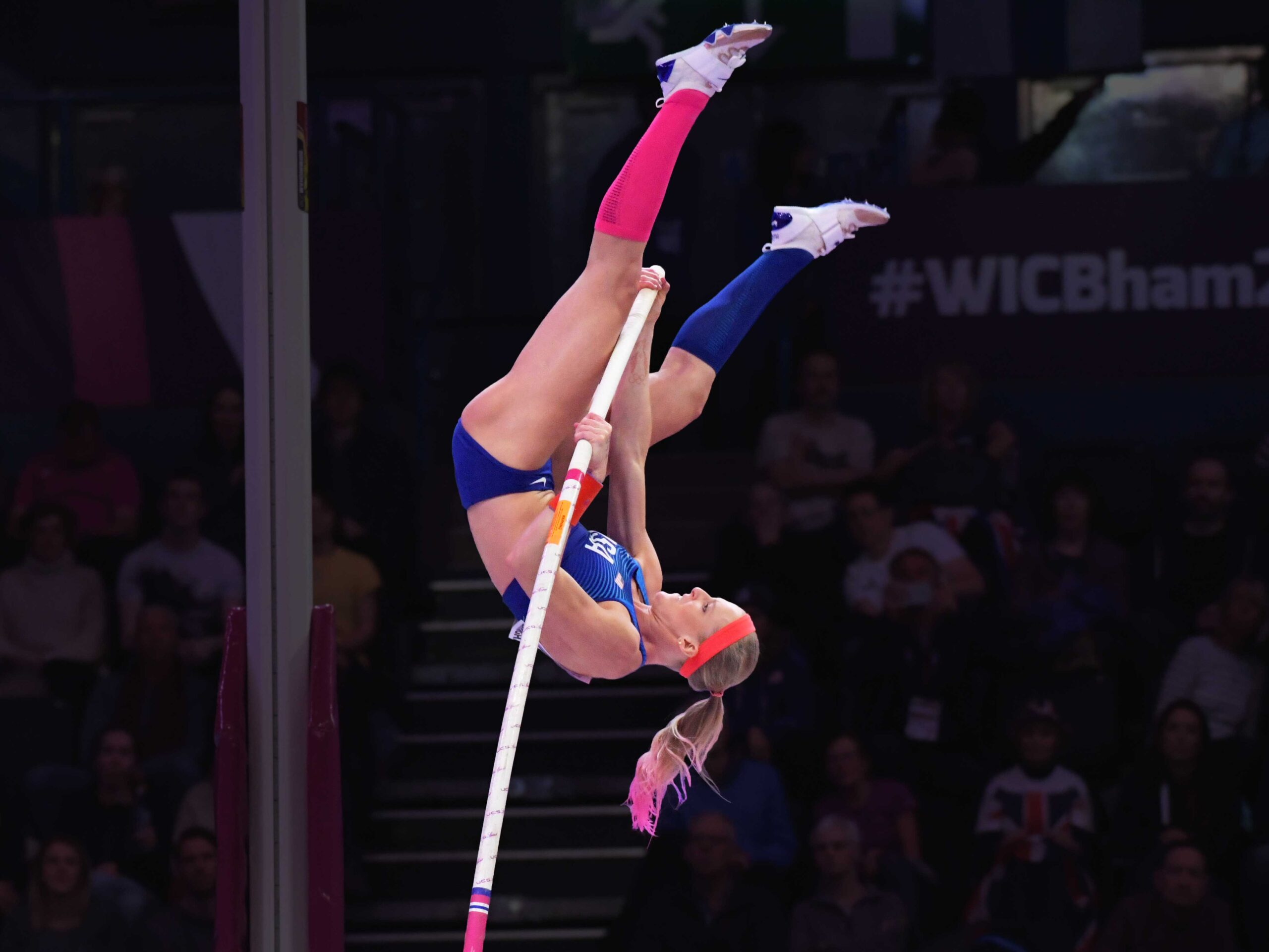 American Record Holder, Pole Vaulting with UCS Spirit Poles at the 2018 IAAF World Championships Indoors.
