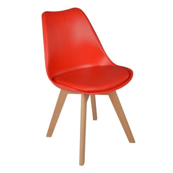 Silla Eames Tulip Cross Wood Roja