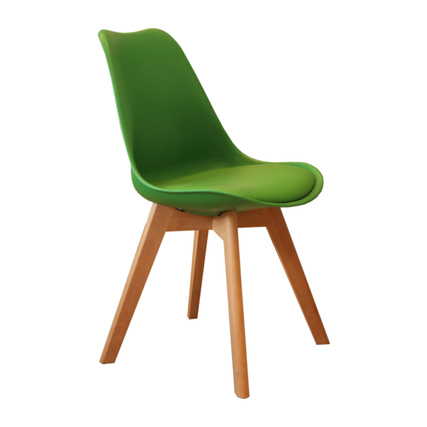 Silla Eames Tulip Cross Wood Verde