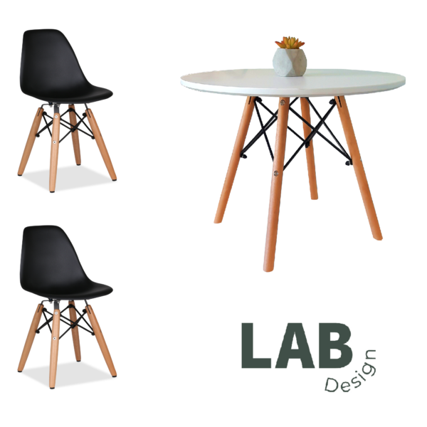 Set mesa + 2 sillas Eames KIDS Negro